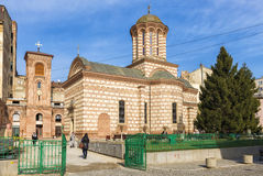 Sunday service at The Old Court Church, Bucharest. Faithfull people gathering to sunday church service at The Old Court Church, considered the oldest church in royalty free stock image