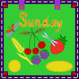 Sunday. The sheet of the calendar. on Sunday Vector Illustration