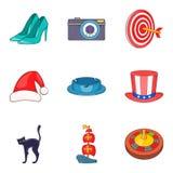 Sunday show icons set, cartoon style. Sunday show icons set. Cartoon set of 9 sunday show vector icons for web isolated on white background Royalty Free Stock Image