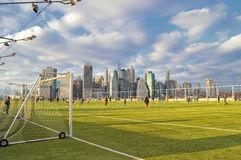 Sunday soccer in NYC. Stock Images