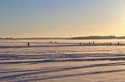 Sunday Walk across the ice on the Lule river Royalty Free Stock Photo