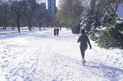 Sunday walkers in Central Park, Manhattan, New York City, NY after winter snowstorm Royalty Free Stock Image