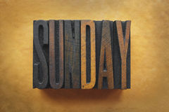 Sunday. The word SUNDAY written in vintage letterpress type Stock Photos