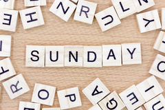 Sunday words with wooden blocks Royalty Free Stock Image