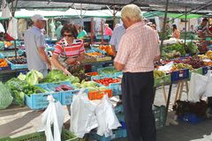 Fruits and vegetables market in Pollenca, Mallorca (Majorca), Spain Royalty Free Stock Photos