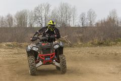 Sundays quad ride on the off-road. Biskupice Radlowskie, Poland - January 14, 2018: Sundays quad ride on the off-road Stock Images