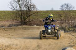 Sundays quad ride on the off-road. Biskupice Radlowskie, Poland - January 14, 2018: Sundays quad ride on the off-road Royalty Free Stock Photography