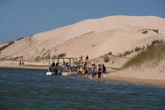 Sundays River ferry at the Alexandria coastal dune fields near Addo / Colchester, South Africa. The Sundays River ferry at the Alexandria coastal dune fields royalty free stock images