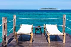 Sundeck oceanu indyjskiego seascape Unguja Zanzibar wyspa Tanzania Afryka zdjęcia stock