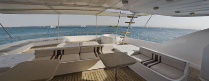 Sundeck on a private motor yacht. Sundeck area of a large private motor yacht Royalty Free Stock Photo