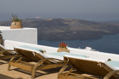 Sundeck view greece Royalty Free Stock Images