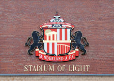 Sunderland Football Club. The Sunderland Football Club crest adorns the club's home, the Stadium of Light, in Sunderland, England Royalty Free Stock Image