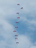 Sunderland International Airshow 2011. SUNDERLAND, UK - JULY 31: Royal Air Force parachutist on Sunderland International Airshow in Sunderland, UK on 31 July Royalty Free Stock Image