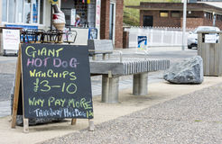 Sunderland, UK - August 24th 2014: Food signs at a seaside cafe Royalty Free Stock Photo