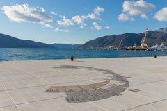 sundial Обваловка города Tivat, Черногории Стоковое фото RF