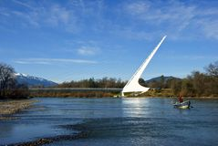 sundial рыболовства моста Стоковая Фотография