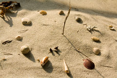 Sundial. On beach made of seashells, stones and a twig Stock Photography