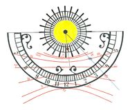 Sundial. In bright sunlight showing half past three Royalty Free Stock Image