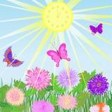 Sundial, blommor och fjärilar arkivfoton