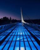 Sundial Bridge. At night at Turtle Bay on the Sacramento River Trail in Redding California Stock Photos