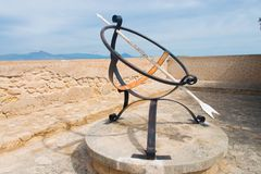 Sundial Castle Santa Barbara in Alicante. Spain royalty free stock image