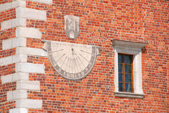 Sundial. At the city hall in Sandomierz (Poland Royalty Free Stock Photo