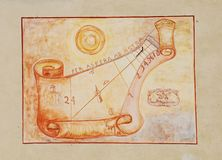 Sundial on Exterior of Friulian Farming Culture Museum Stock Photos