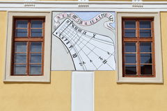 Sundial on facade. In Velehrad,Czech republic stock images