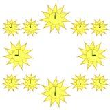 sundial A face do relógio está no círculo do sol Ilustração do vetor da passagem do tempo ilustração do vetor