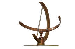 Sundial (flat). Rusty simple steel sundial (isolated Stock Image