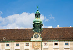 The sundial and mechanical watches on Amalienburg in Hofburg, Vienna, Austria Stock Photography
