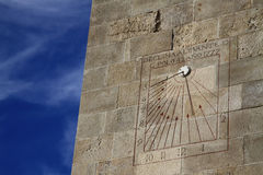Sundial in Montjuic Castle, Barcelona, Catalonia, Spain. December 2011 Royalty Free Stock Photo