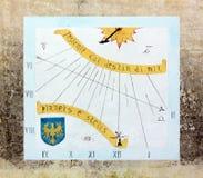 Sundial na Zewnętrznej ścianie w Aquileia, Włochy Obrazy Stock