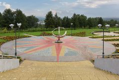 Sundial near Large Novosibirsk Planetarium is the largest astrophysical center beyond the Urals. Novosibirsk, Russia - August 10, 2013: Sundial near Large Royalty Free Stock Photo