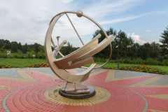 Sundial near Large Novosibirsk Planetarium is the largest astrophysical center beyond the Urals. Novosibirsk, Russia - August 10, 2013: Sundial near Large Stock Photo