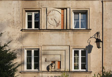 Sundial on New town market place in Warsaw. Poland Royalty Free Stock Images