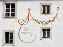 Sundial on the old wall in Passau, Germany, time measurement Royalty Free Stock Photography