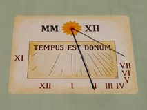 Sundial. Painted, square sundial in the village near Prague Royalty Free Stock Image