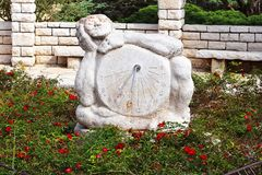 Sundial sculpture in the Rose garden, Park Ramat Hanadiv, Israel Royalty Free Stock Image