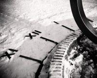 Sundial in snow. At half past twelve. Black & White Graphic image Stock Images
