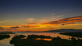 Sundow no delta de Ebro Fotografia de Stock Royalty Free