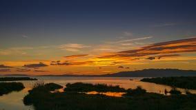 Sundow på den Ebro deltan Royaltyfri Fotografi