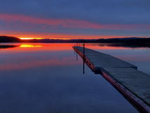 Sundown. Red sundown on a smooth lake Stock Photography