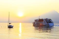 Sundown. At lake Garda, Italy Stock Image
