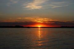 Sundown. Sundown on the river. river Volga. Russia Royalty Free Stock Photography