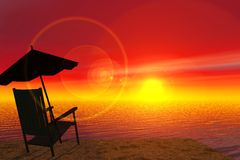 Sundown. Scene of the easy chair on background of the sundown, executed in 3 D Royalty Free Stock Image