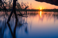 Sundown湖 图库摄影