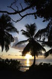 Sundown at Anse Takamaka, Seychelles Royalty Free Stock Photo