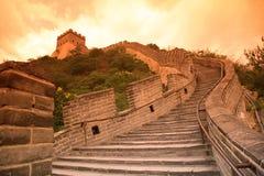 Sundown av den stora väggen, Beijing Arkivbilder