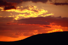 Sundown. Beautiful sundown that colours the sky red in Namibia Royalty Free Stock Photo